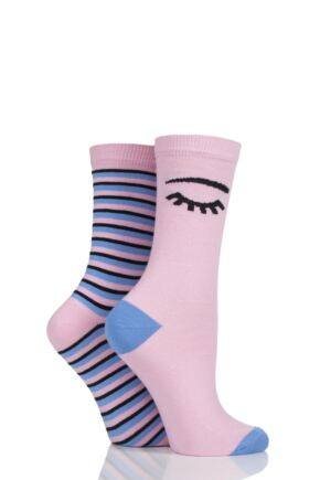 Ladies 2 Pair Missguided Eye and Stripe Cotton Socks