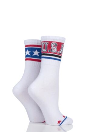 Ladies 2 Pair Missguided USA Half Rib Sports Crew Socks White 4-8 Ladies