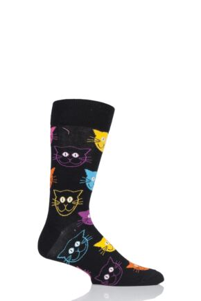 Mens and Ladies 1 Pair Happy Socks Dog and Cat Combed Cotton Socks Cats 4-7 Unisex