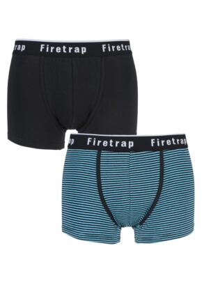 Mens 2 Pack Firetrap Plain and Narrow Striped Cotton Boxer Shorts