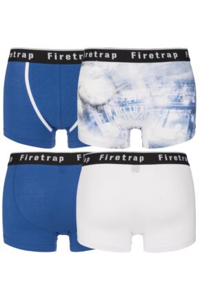 Mens 2 Pack Firetrap Plain and Photographic Print Cotton Boxer Shorts