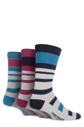 Mens 3 Pair Firetrap Mixed Striped Cotton Socks