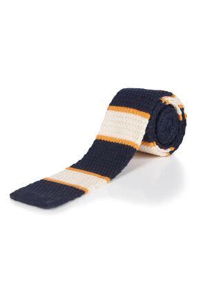 Moustard Striped Cotton Knitted Tie - Mustard Stripe