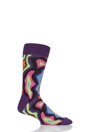 Mens and Ladies 1 Pair Happy Socks MRI Crazy Combed Cotton Socks Purple  7.5-11.5 Unisex