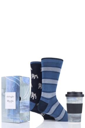 Mens 2 Pair Thought Bamboo and Organic Cotton Socks with Bamboo Cup