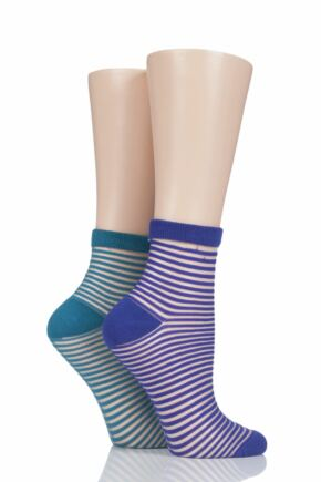 Ladies 2 Pair Elle Sheer Stripe Bamboo Anklet Socks