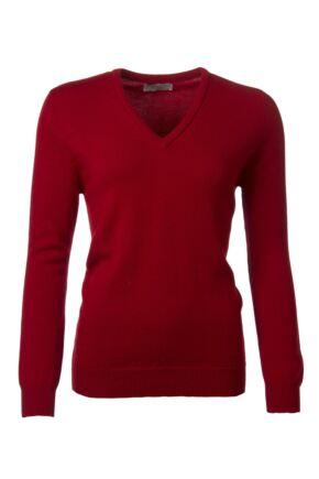 Ladies Great & British Knitwear 100% Lambswool Plain V Neck Jumper Dubonnet B Small