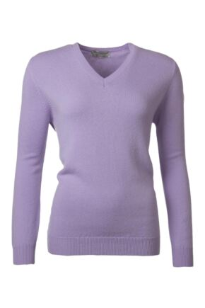 Ladies Great & British Knitwear 100% Lambswool Plain V Neck Jumper Lupin C Medium