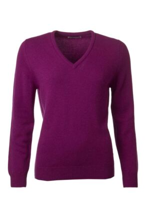 Ladies Great & British Knitwear 100% Lambswool Plain V Neck Jumper Empire D Large