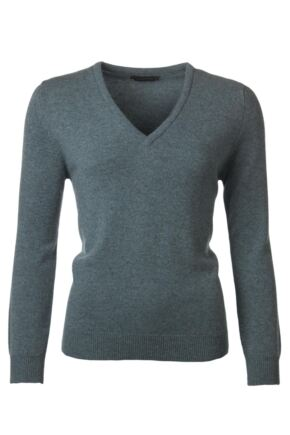 Ladies Great & British Knitwear 100% Lambswool Plain V Neck Jumper Caspian Small