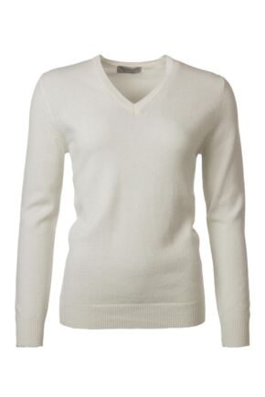 Ladies Great & British Knitwear 100% Lambswool Plain V Neck Jumper Arctic White E Extra Large