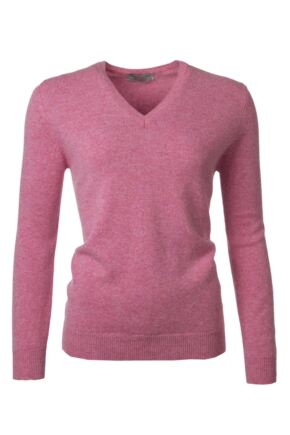 Ladies Great & British Knitwear 100% Lambswool Plain V Neck Jumper Nougat C Medium