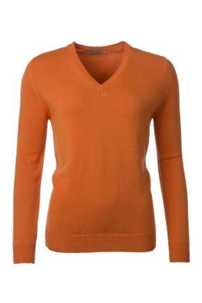 Ladies Great & British Knitwear 100% Lambswool Plain V Neck Jumper Turmeric D Large