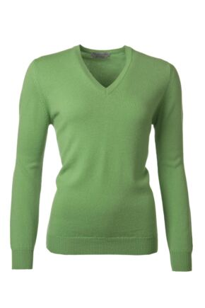 Ladies Great & British Knitwear 100% Lambswool Plain V Neck Jumper Cucumber D Large