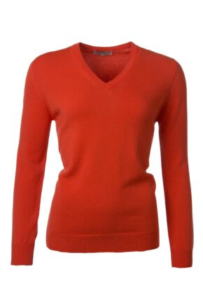 Ladies Great & British Knitwear 100% Lambswool Plain V Neck Jumper Crab Apple D Large