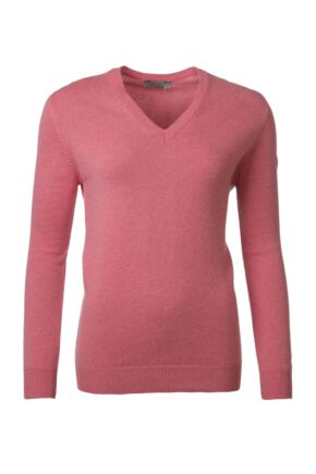 Ladies Great & British Knitwear 100% Lambswool Plain V Neck Jumper Pink Gloss D Large