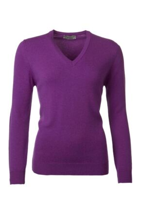 Ladies Great & British Knitwear 100% Lambswool Plain V Neck Jumper Foxglove D Large