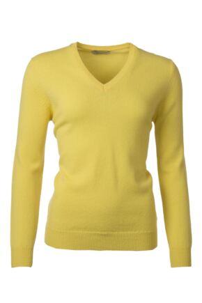 Ladies Great & British Knitwear 100% Lambswool Plain V Neck Jumper Daffodil C Medium