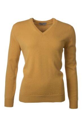Ladies Great & British Knitwear 100% Lambswool Plain V Neck Jumper Harvest Gold B Small