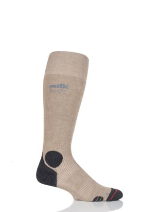 Mens and Ladies 1 Pair MilkTEDS Outdoor Socks with Full Terry Lining Khaki L