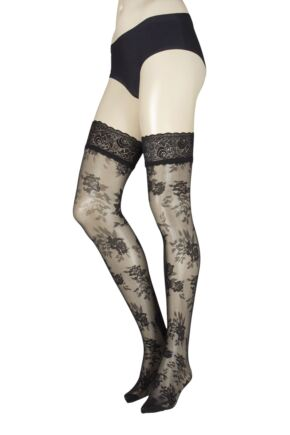 Ladies 1 Pair Trasperenze Musa Floral Hold Ups