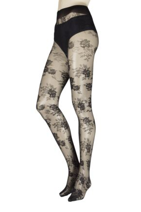 Ladies 1 Pair Trasperenze Musa Floral Tights