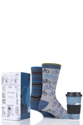 Mens 2 Pair Thought Cycler Bamboo and Organic Cotton Socks with Bamboo Cup in Gift Box
