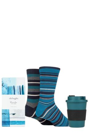 Mens 2 Pair Thought Jem Bamboo and Organic Cotton Gift Boxed Socks with Bamboo Cup