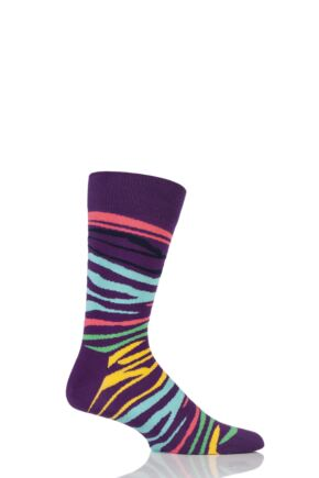 Mens and Ladies 1 Pair Happy Socks Multi Zebra Combed Cotton Socks Purple 4-7 Unisex