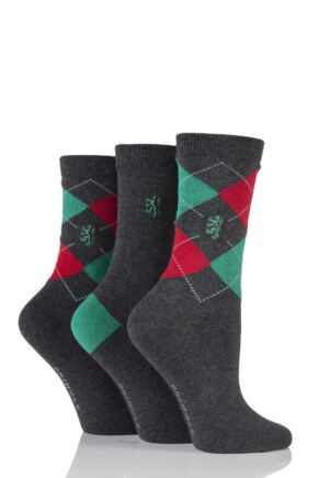 Ladies 3 Pair Pringle of Scotland Argyle and Plain Socks Grey / Red / Green 4-8 Ladies
