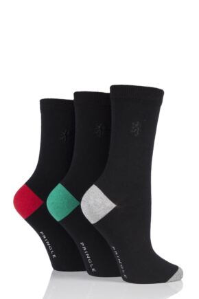 Ladies 3 Pair Pringle of Scotland Contrast Heel and Toe Socks Black 4-8 Ladies
