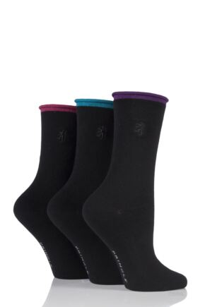 Ladies 3 Pair Pringle of Scotland Plain Roll Top Socks Black 4-8 Ladies