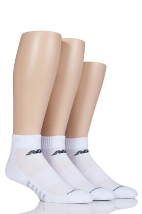 Mens and Ladies 3 Pair New Balance Performance Cotton Low Quarter Socks White Large