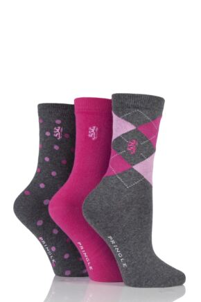 Ladies 3 Pair Pringle of Scotland Argyle, Plain and Spot Socks In Gift Box Grey 4-8 Ladies