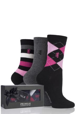 Ladies 3 Pair Pringle of Scotland Argyle Plain and Stripe Socks In Gift Box Black 4-8 Ladies
