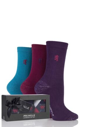 Ladies 3 Pair Pringle of Scotland Plain Socks In Gift Box Assorted 4-8 Ladies