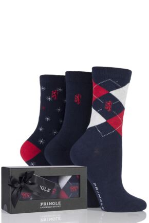 Ladies 3 Pair Pringle of Scotland Argyle Plain and Star Socks In Gift Box Navy 4-8 Ladies