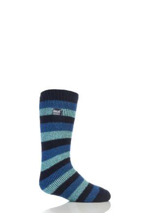 Kids 1 Pair Heat Holders Long Leg Striped Thermal Socks Navy 12.5-3.5 Kids