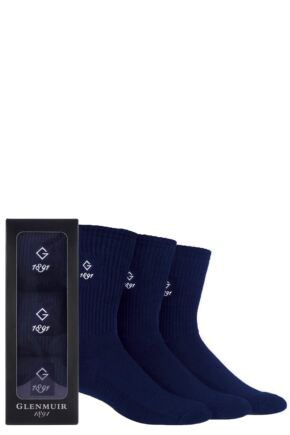 Mens 3 Pair Glenmuir Gift Boxed Plain Cotton Socks