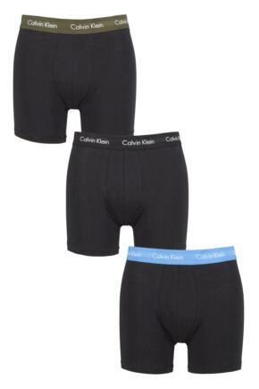 Mens 3 Pack Calvin Klein Cotton Stretch Longer Leg Trunks