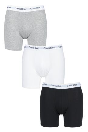 Mens 3 Pack Calvin Klein Cotton Stretch Longer Leg Boxer Brief Shorts
