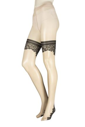 Ladies 1 Pair Trasparenze Ninfa Mock Hold Up Backseamed Tights