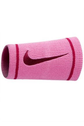 Mens and Ladies 2 Pack Nike Dri-FIT Double Wide Wristbands Red Violet / Bright Magenta
