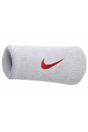 Mens and Ladies 2 Pack Nike Swoosh Double-Wide Wristbands White / Red