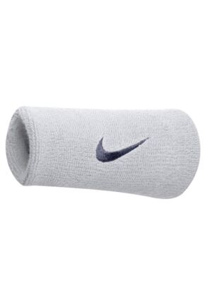 Mens and Ladies 2 Pack Nike Swoosh Double-Wide Wristbands White / Obsidian