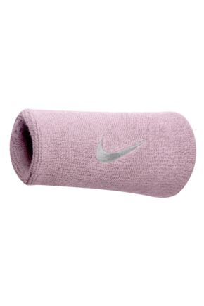 Mens and Ladies 2 Pack Nike Swoosh Double-Wide Wristbands Perfect Pink