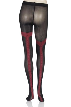 Ladies 1 Pair Vixen by Couture Charley Tuxedo Seamed Opaque Tights