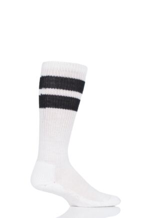 Mens and Ladies 1 Pair Thorlos Old School Over the Calf Sports Socks White / Black 8.5-12 Unisex