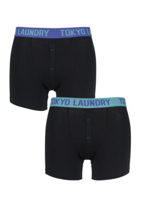 Mens 2 Pack Tokyo Laundry Harden Combed Cotton Plain Buttoned Boxer Shorts