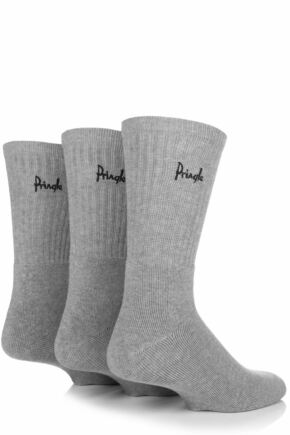 Mens 3 Pair Pringle Full Cushion Sports Socks Grey 12-14 Mens